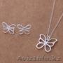 Продам серебряный набор Серьги + Ожерелье - Бабочка.